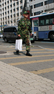 Local Army guy walking home
