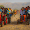 Tractors of People Departing Camel Fair in Pushkar, India