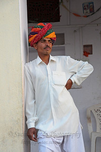 Sayar Singh at their home in Chamunda Matha Road, Pushkar. The town of Pushkar is located 14 km North West of Ajmer. Pushkar is one of the oldest cities of India. It  has in recent years become a popular destination for foreign tourists. Pushkar, Rajasthan, India.