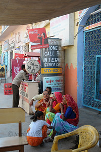 Internet, PCO/FAX and tea/coffee stalls near the Pushkar Bus Stop. The town of Pushkar is located 14 km North West of Ajmer. Pushkar is one of the oldest cities of India. It  has in recent years become a popular destination for foreign tourists. Pushkar, Rajasthan, India.