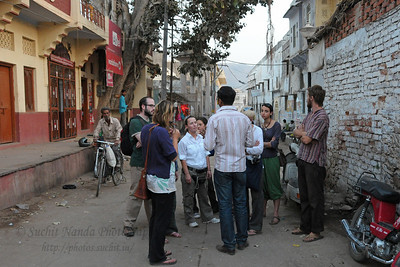 Tourists at Pushkar.  The town of Pushkar is located 14 km North West of Ajmer. Pushkar is one of the oldest cities of India. It  has in recent years become a popular destination for foreign tourists. Pushkar, Rajasthan, India.