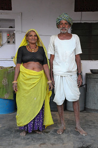 Sayar Singh's parents at their home in Chamunda Matha Road, Pushkar. The town of Pushkar is located 14 km North West of Ajmer. Pushkar is one of the oldest cities of India. It  has in recent years become a popular destination for foreign tourists. Pushkar, Rajasthan, India.