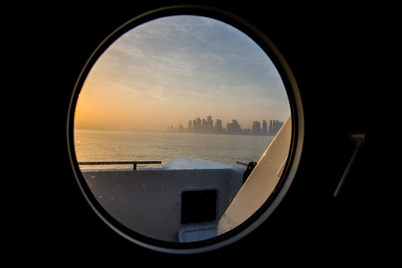 Qatar West Bay seen through round window