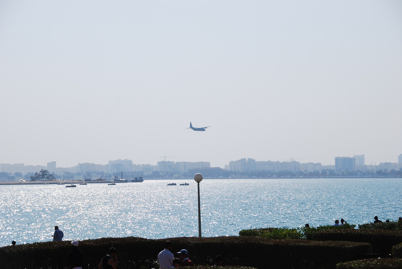 A Hercules doing a fly past over the Corniche in Doha.