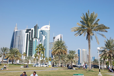 Looking back along the Corniche in Doha.