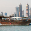Touring dhow docked at fishing pier, Doha, Qatar.
