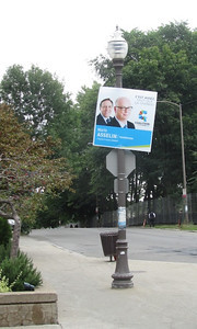 Political signs on light poles all over the city