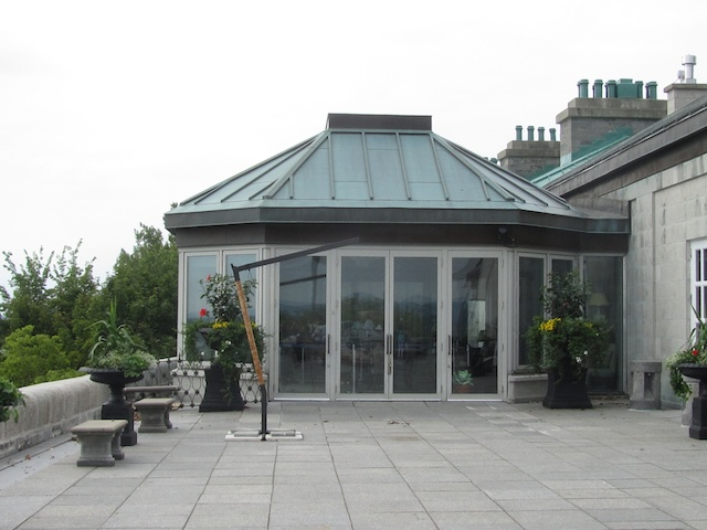 View of Governor's dining area from terrace overlooking the St. Lawrence