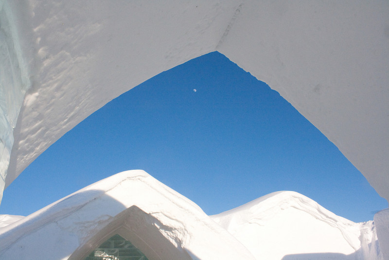 Moon over the ice hotel.
