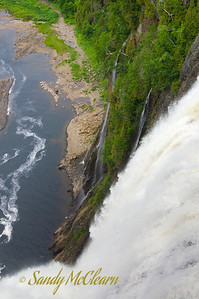 Looking down from the bridge suspended over Montmorency Falls.