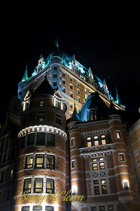 Looking up at the Chateau Frontenac from the boardwalk.