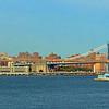 Brooklyn Bridge in brown, Manhattan Bridge in blue behind.