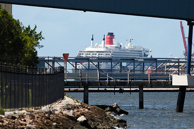 The Queen Mary II and Sun Princess Ships visit Brisbane on the same day; Luggage Point & Hamilton, Brisbane, Queensland, Australia; 16 February 2012. Photos by Des Thureson - http://disci.smugmug.com.  - The Queen Mary II as seen from Kirra Street, Pinkenba.