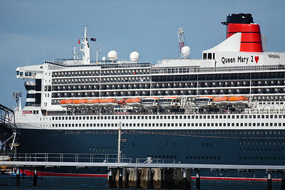 The Queen Mary II and Sun Princess Ships visit Brisbane on the same day; Luggage Point & Hamilton, Brisbane, Queensland, Australia; 16 February 2012. Photos by Des Thureson - http://disci.smugmug.com.  - The Queen Mary II Liner, as seen from the riverside end of Piped Road, Myrtletown (adjacent to Luggage Point).