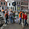 People crossing one of the locks in Utrecht.