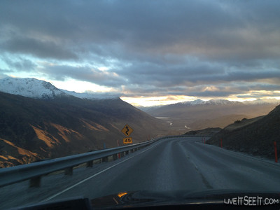 Queenstown dead-ahead. Great sunset over Coronet Peak as we return from Treble Cone