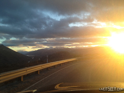 Great sunset over Coronet Peak as we return from Treble Cone
