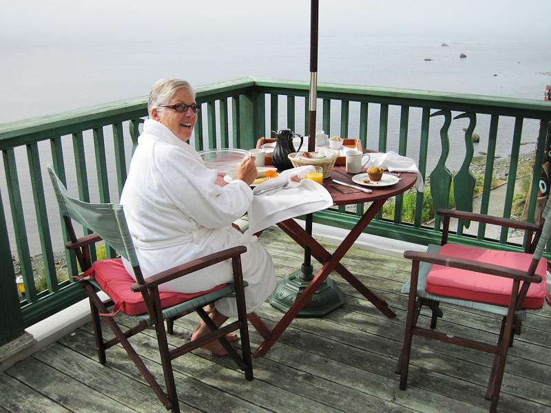 Breakfast on the deck every morning, what a life!  Now this is the way to get over being sick.