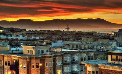 Colourful Sunset overlooking San Francisco's equally colourful North Beach neighborhood