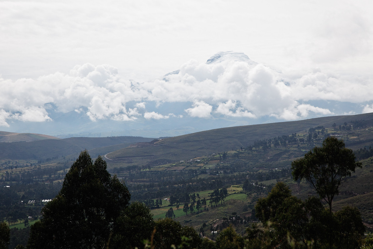 A snow-covered volcano north of Quito, on the way to Otavalo. Didn't expect to see snow at the equator!