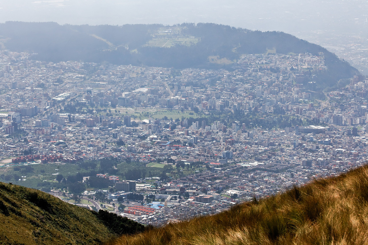 Quito from the Pichincha volcano (the Teleferiqo gondola takes you to about 13250 feet elevation).