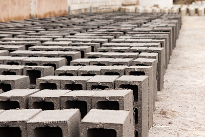 Cement block production.