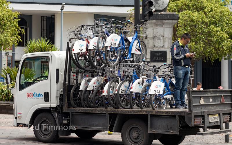 BiciQuito bikeshare rebalancing truck.