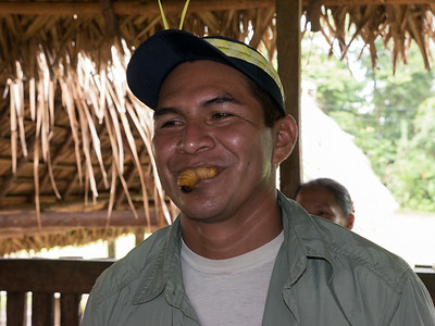 Fausto, the guide eats a live grub. It is a local dish.