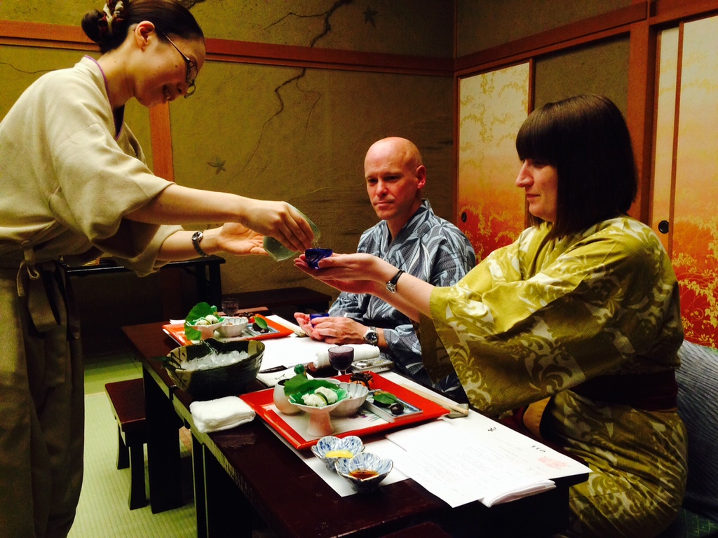 Excellent service and an unforgettable dinner at our ryokan.