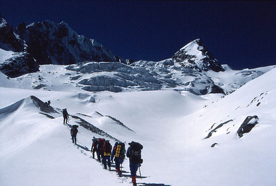 Approaching the snout of the Ramdung Glacier, heading for high camp