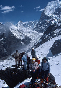 Group shot, with the head of the Rowaling Valley behind, on the lower slopes of Ramdung Peak