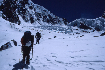 On the ramdung Glacier, approaching the second ice fall and high camp