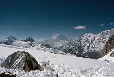 Ramdung high camp with Gauri Shankar in the distance