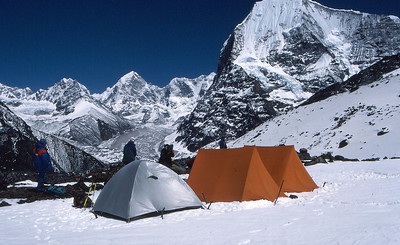 First camp on the mountain, with the head of the Rowaling Valley behind