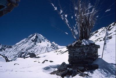 Chorten on the Tsho Rolpa Glacier at the head of the Rowaling Valley