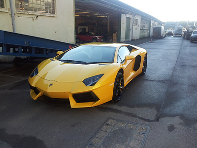 Turned up to do more work on the motorhome and found this brand new Lamborghini parked outside, ready to be exported to Malaysia, what a beautiful car and what an incredible sound when it was started up.