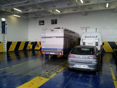 On Board the ferry to Barcelona, very few cars, but full of lorries