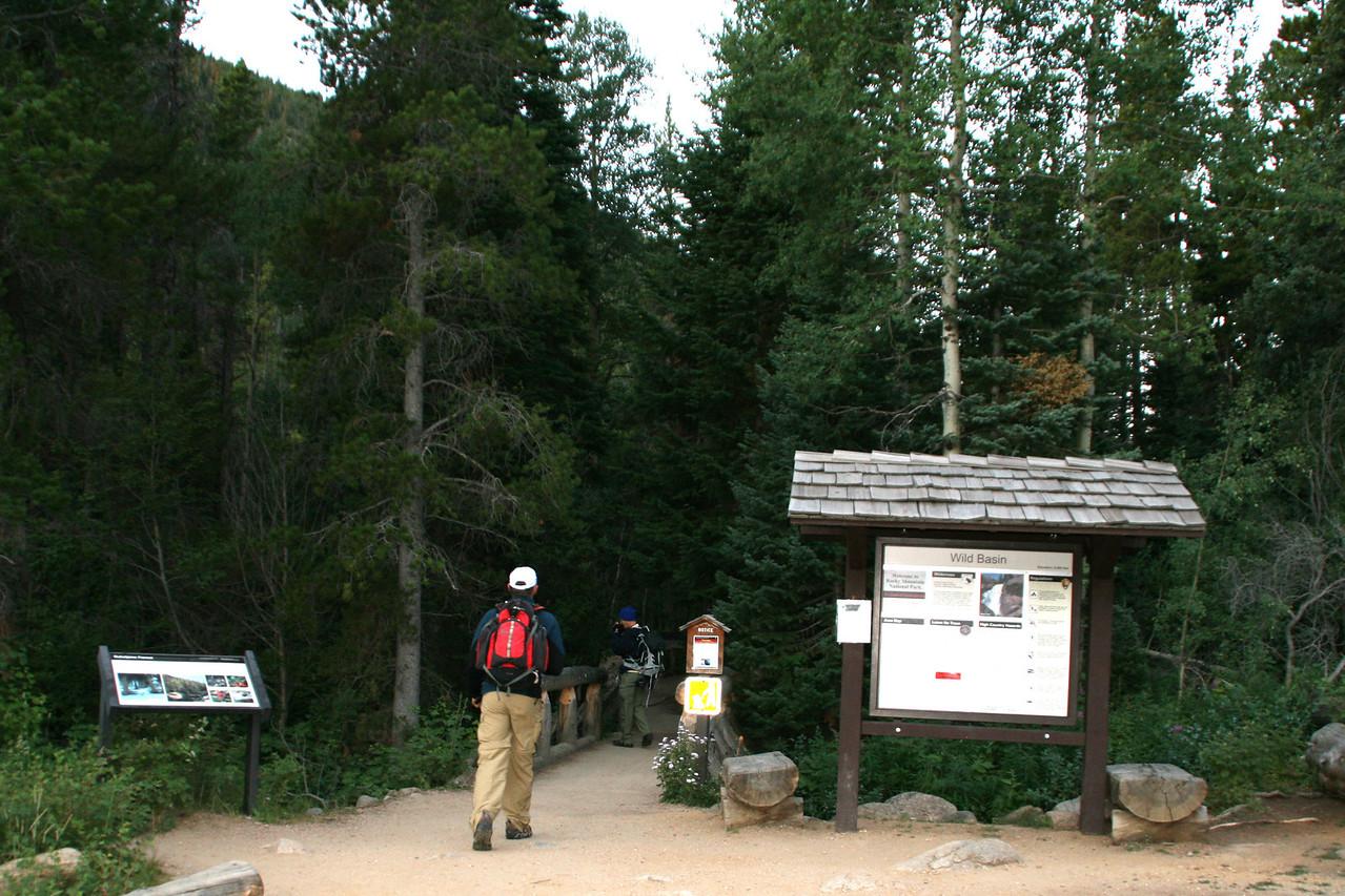 Kurt following Dan towards the trail.