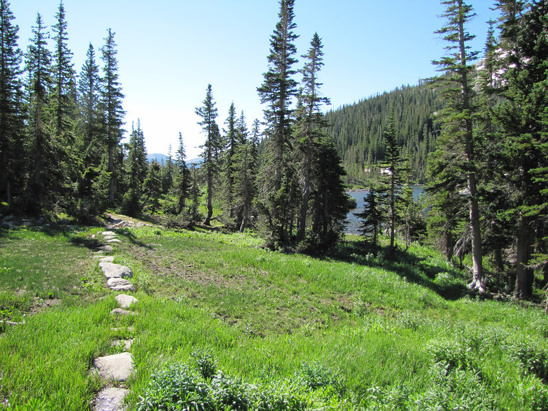 Stepping stones across a small meadow above Thunder Lake. Looking back toward the East.
