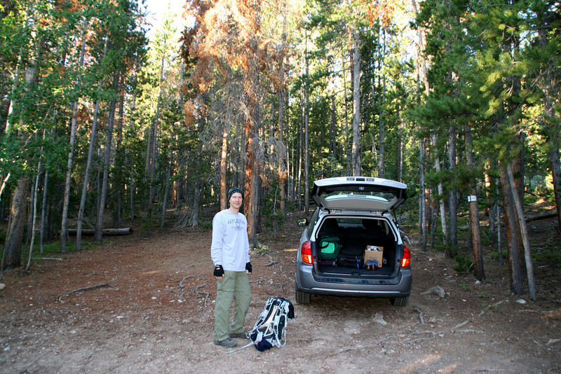 Dan getting ready to head up the trail to Pear Lake from the Allenspark Trailhead.