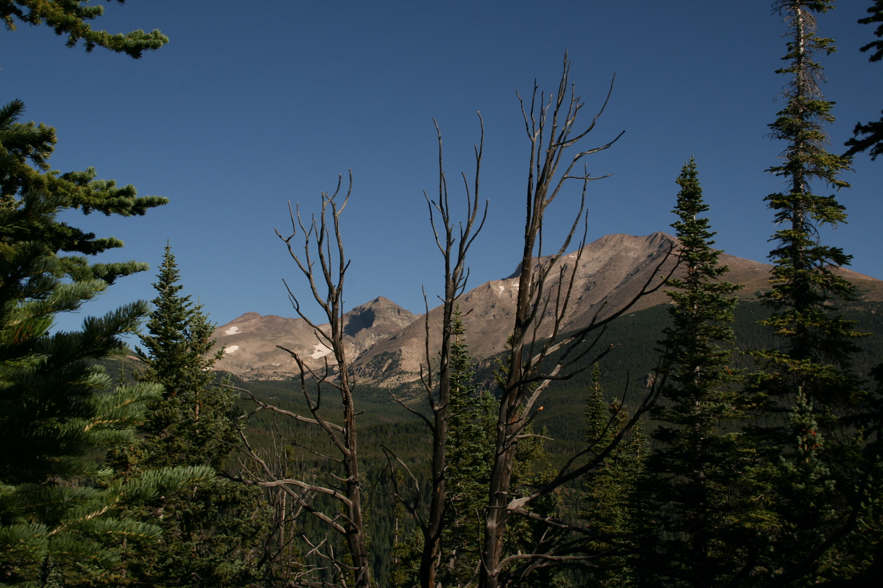 Mount Meeker, with a bit of Longs Peak showing behind it, Pagoda Mountain and Chief's Head Peak.