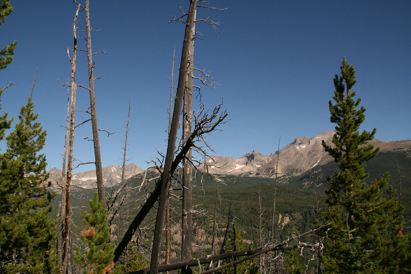 Mount Meeker, with a bit of Longs Peak showing behind it, Pagoda Mountain and Chief's Head Peak, then Alice Peak?