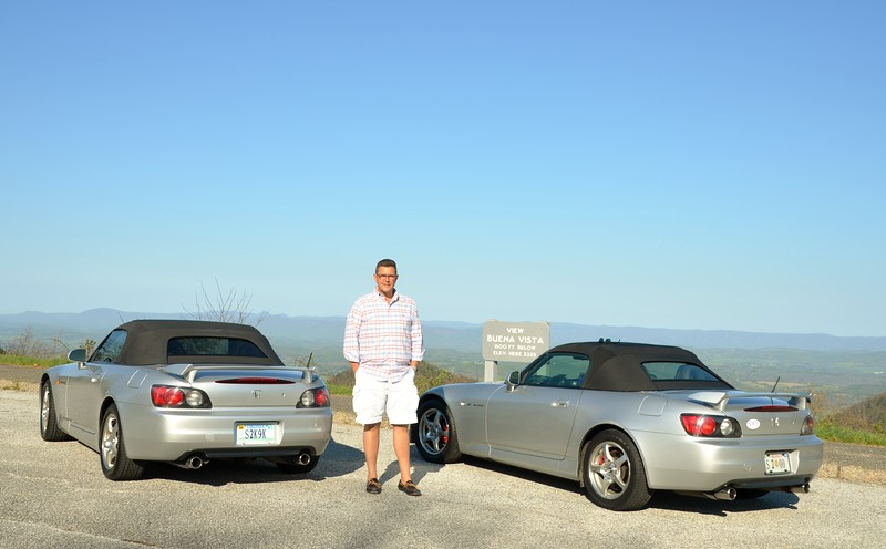 Greg in S2K9K and me in Sassy on the Blue Ridge Parkway. ..A cool morning... Tops still up...
