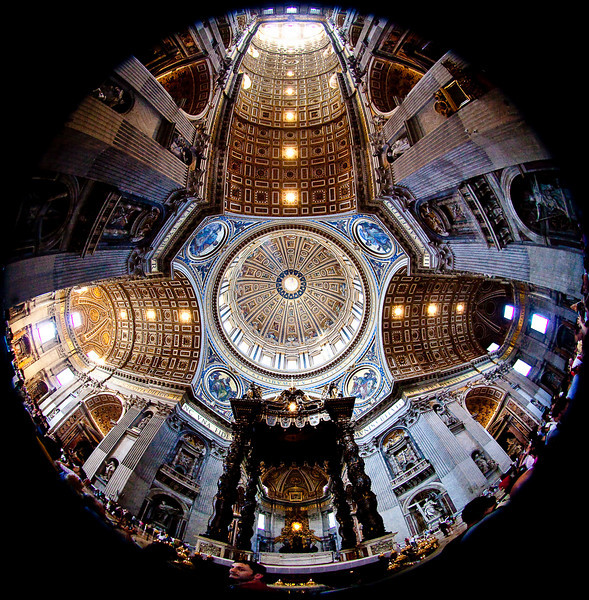 """FISHEYE"" VIEW LOOKING STRAIGHT UP INTO THE DOME OF THE BASILICA"
