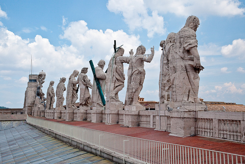 STATUTES AT THE BASE OF THE BASILICA DOMES OVERLOOKING  ST. PETER'S SQUARE