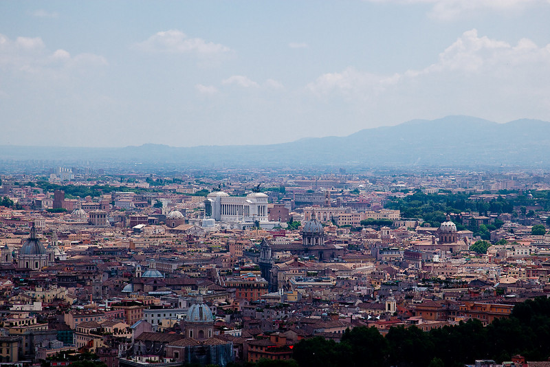 VIEW FROM THE CUPOLA-SEE VICTOR EMMANUEL MONUMENT AND COLOSSEUM AT CENTER OF PHOTO