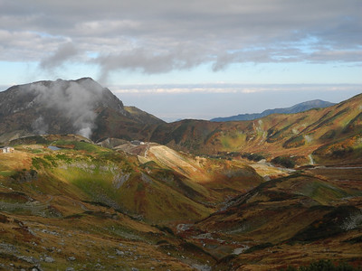 The Murodo Plateau in autumn with steam rising from volacanic vents.