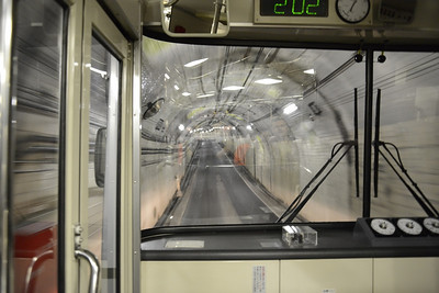 Trolley bus through tunnels on the Alpine Route.