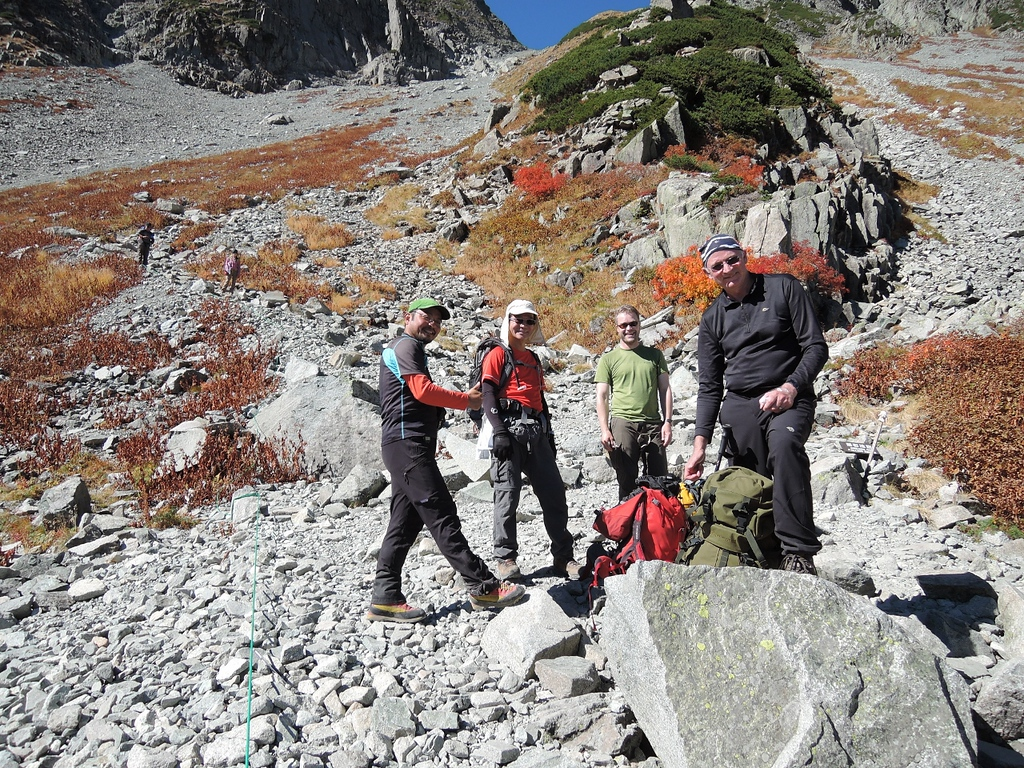 The boys climbing Hotaka.