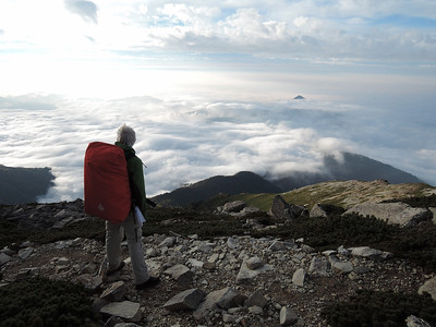 On day 2, Bob looking over a sea of cloud to the west from the Roof Japan.